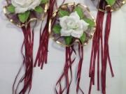 7,04 Золотий з фіолетовим фатін, біла квітка, 4 шт 50 гор