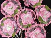 7,14  Рожевий з білим фатін, рожева квітка,  4 шт за 40 грн