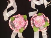 7,15 Рожева квітка з білою стрічкою, 4 шт за 50 грн