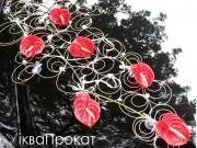 ротангові прикраси на авто червоні кали